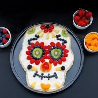 Healthier Day Of The Dead Sugar Skull Fruit Pizza