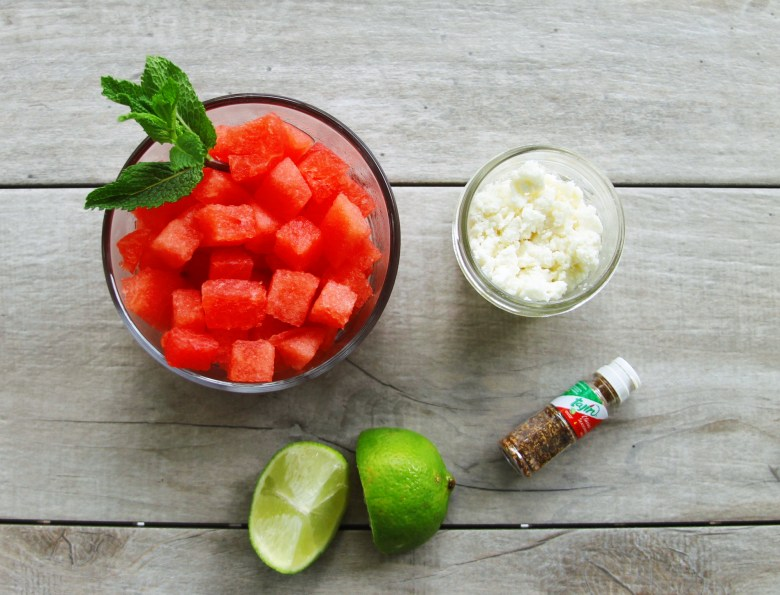 spicy watermelon and queso fresco salad