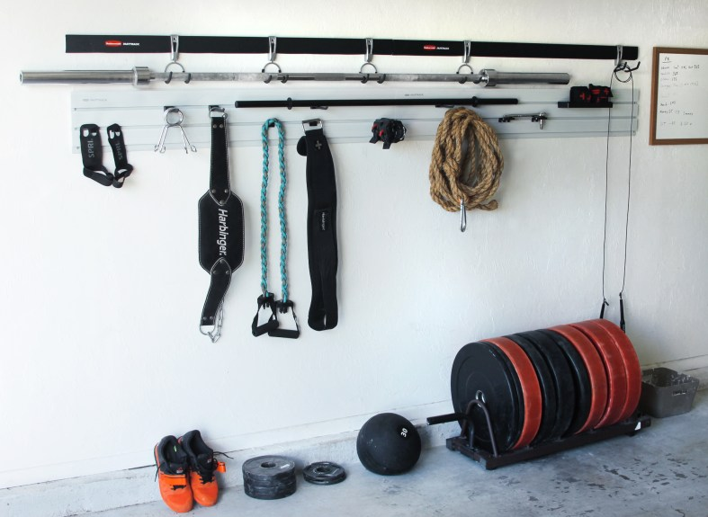 garage gym with the Rubbermaid® FastTrack® Garage Organization System