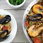 One-pan Spanish chorizo and seafood fideua recipe
