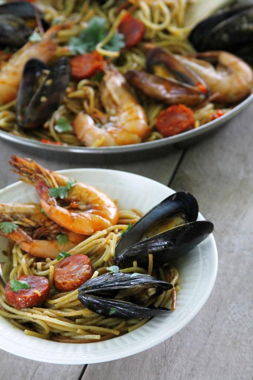 One-pan Spanish chorizo and seafood fideua recipe