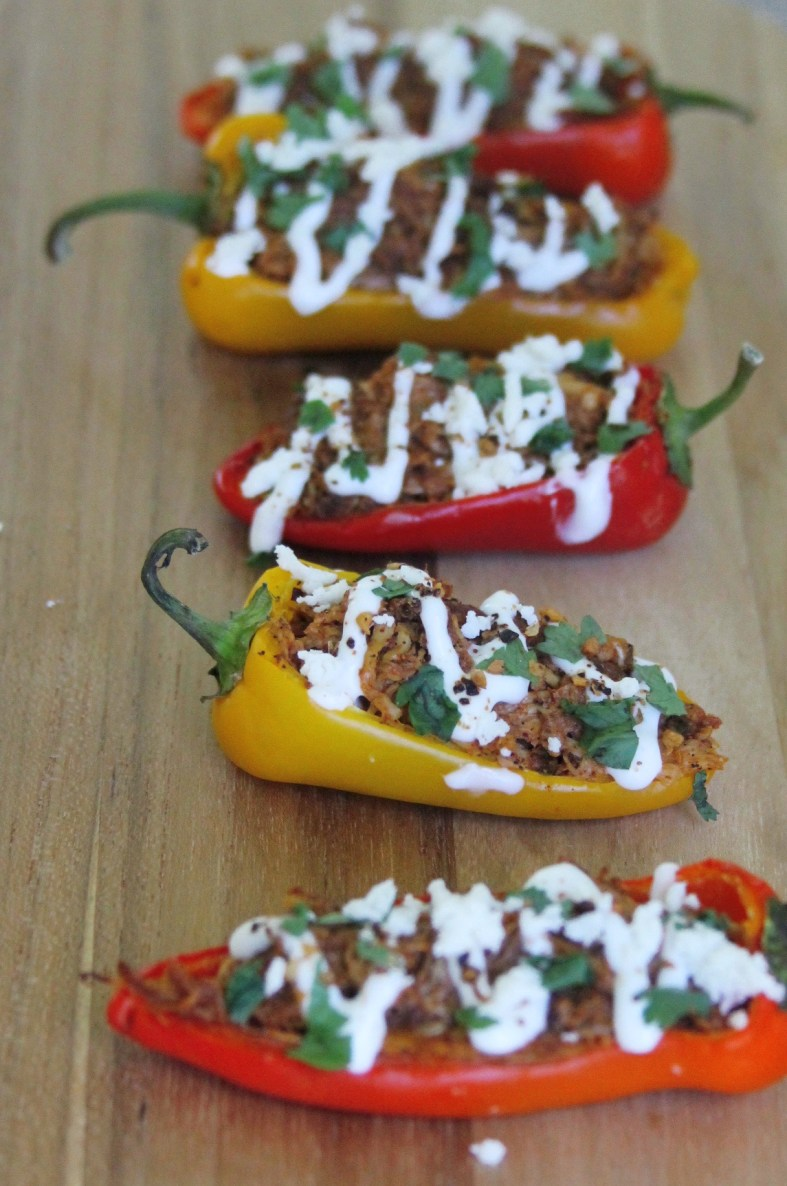 spicy pibil chicken stuffed peppers
