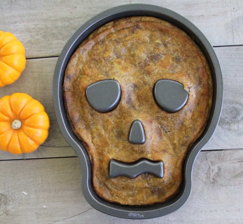 Sugar Skull coconut pumpkin bread pudding for Day of the Dead party