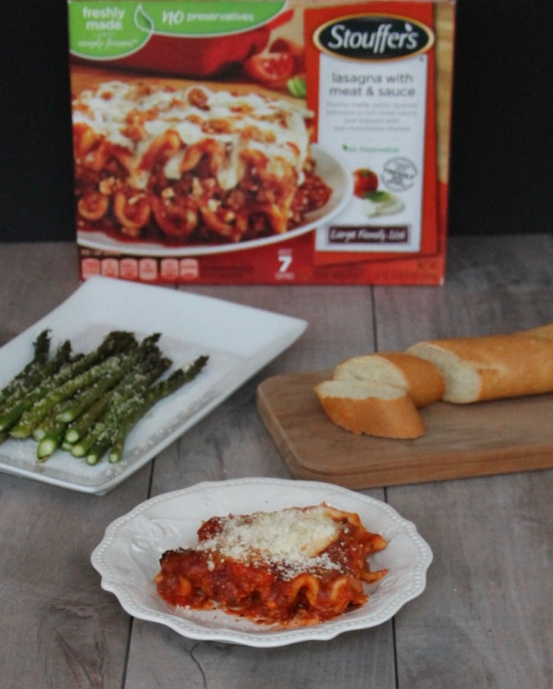 Stouffer's lasagna and asparagus