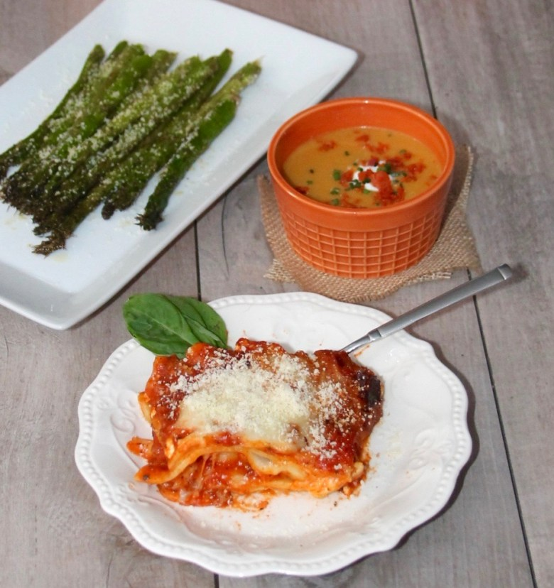lasagna and asparagus and soup