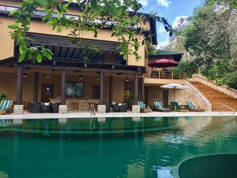 lobby and pool area at Las Lagunas hotel inn Guatemala