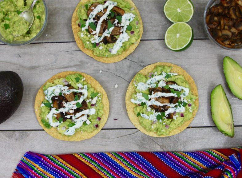 avocado and chipotle mushroom tostadas