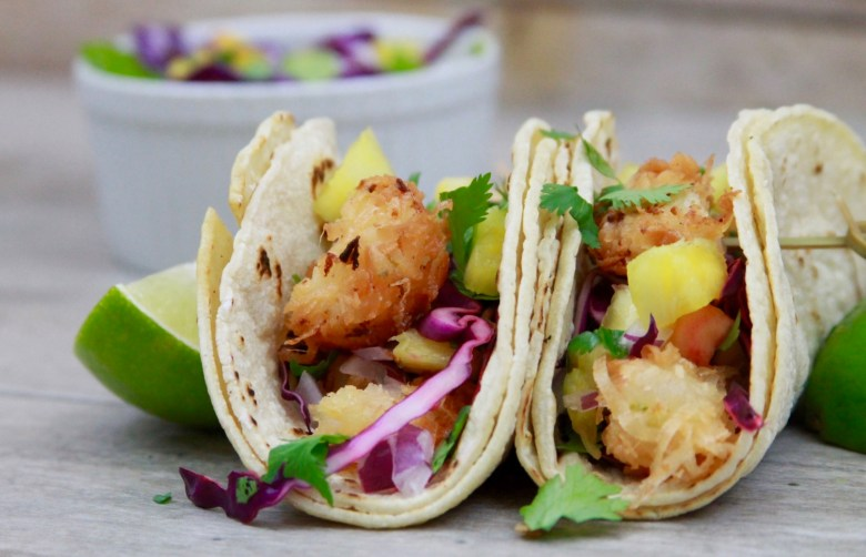 Coconut shrimp tacos with pineapple slaw