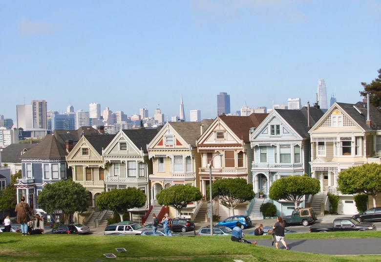 Painted Ladies in Alamo Square Park San Francisco