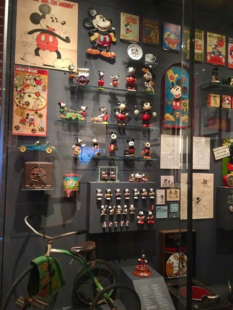 Mickey Mouse merchandise at the Walt Disney Family Museum
