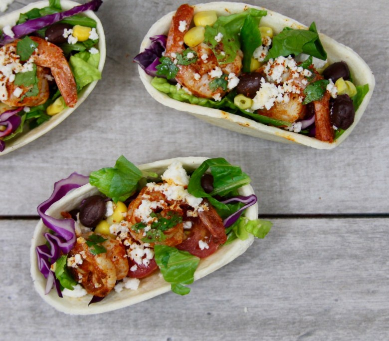 Chipotle Shrimp Taco Salad Tortilla Boats