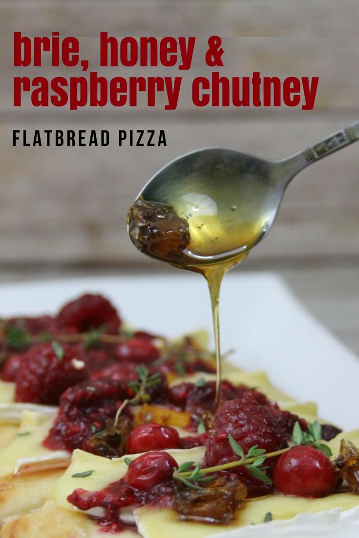 brie, honey and raspberry chutney flatbread pizza