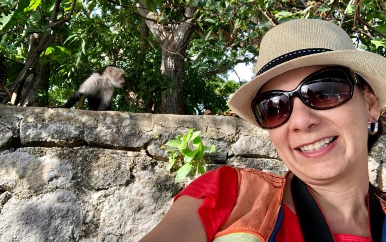 feeding the monkeys in the islets of Granada, Nicaragua