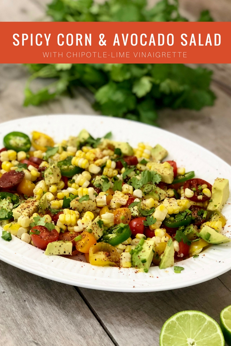 picy corn and avocadosalad with chipotle-lime vinaigrette