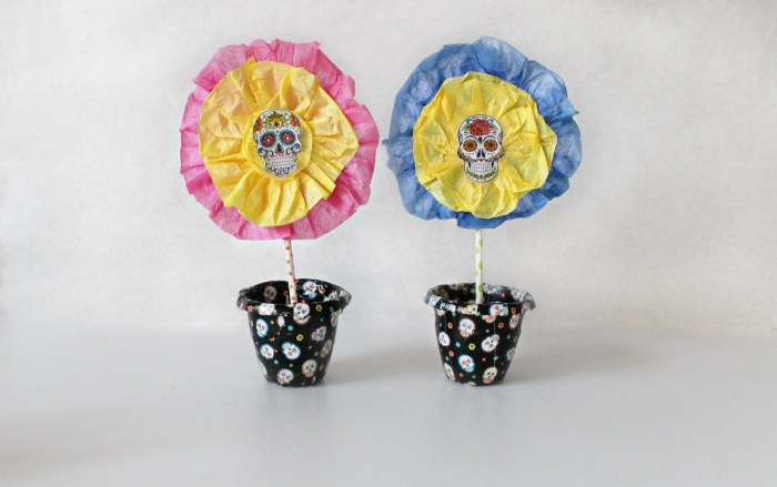 Sugar Skull Planter and Flowers Craft for Kids