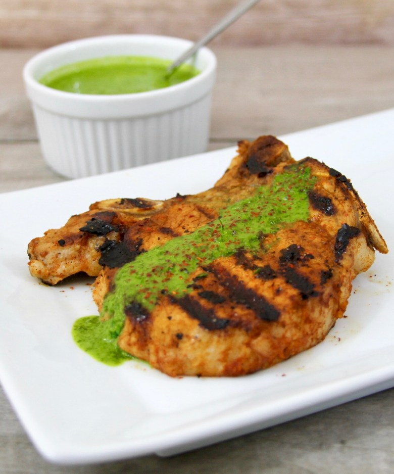 Chipotle Adobo Grilled Pork Chops With Cilantro Lime Chimichurri