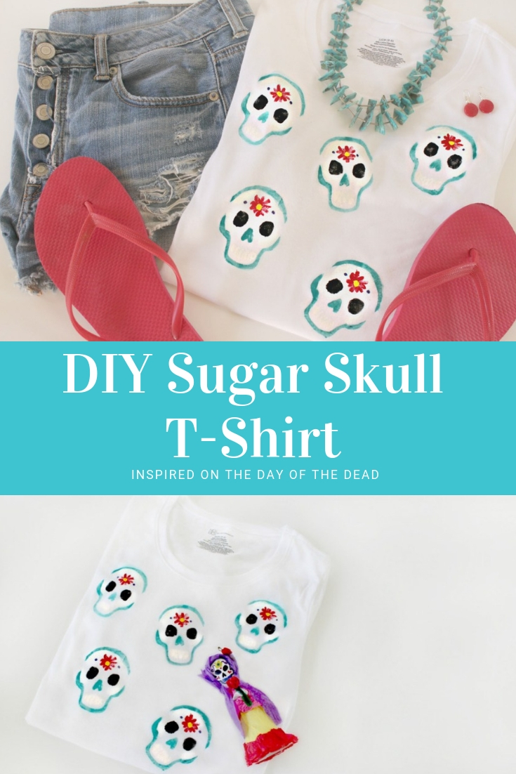 DIY sugar skull t-shirt