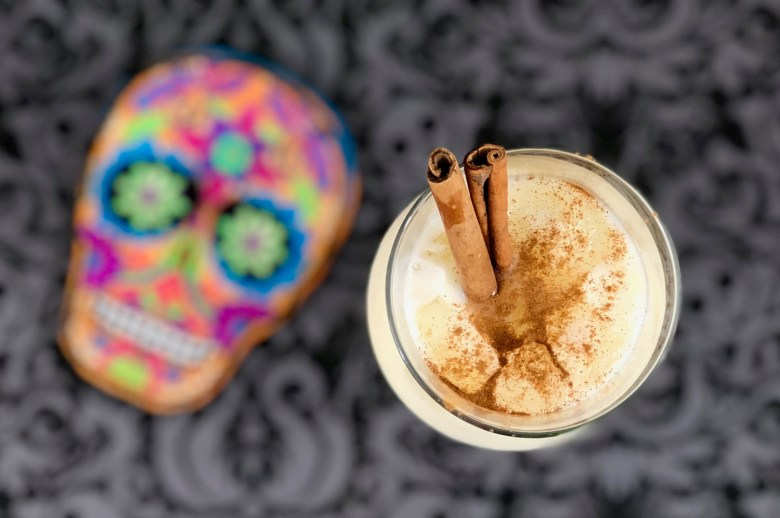 Spiked horchata cocktail for Day of the Dead celebrations