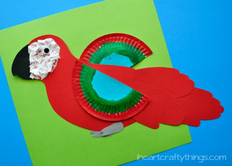 Rainforest Macaw craft for kids and Latin American crafts to celebrate Hispanic Heritage Month