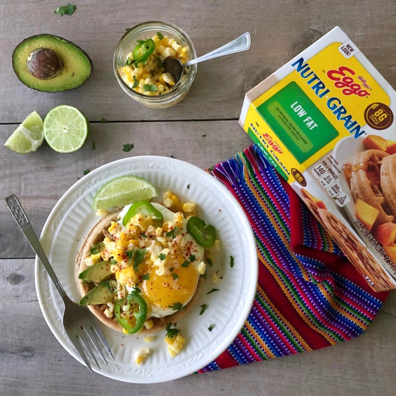 Avocado Toast Waffles with Mexican Corn Esquites