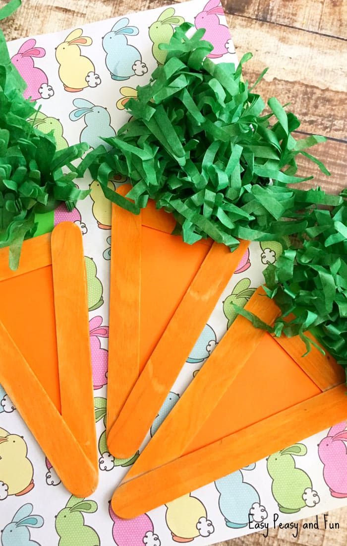 Craft Stick Carrots and other fun and easy Easter crafts for kids