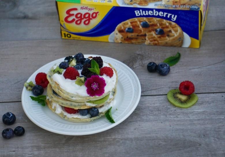 Berries and kiwi waffle cake with Spirit Riding Free printable cake banner