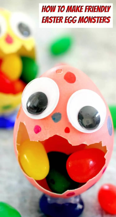 Friendly Easter Egg Monsters and other fun and easy Easter crafts for kids
