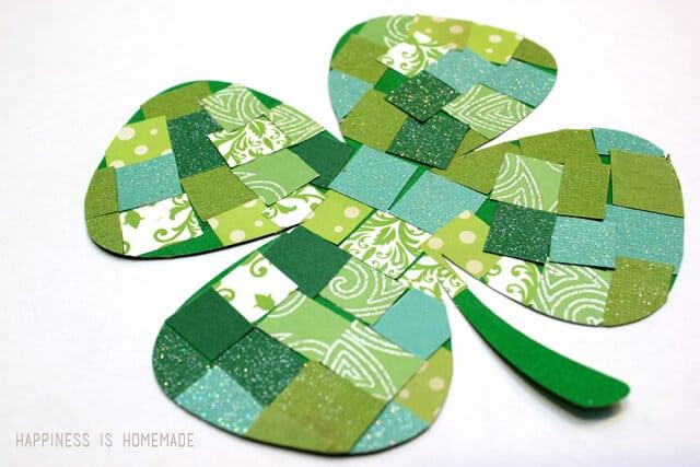 Mosaic Paper Shamrocks St Patrick's Day craft for kids