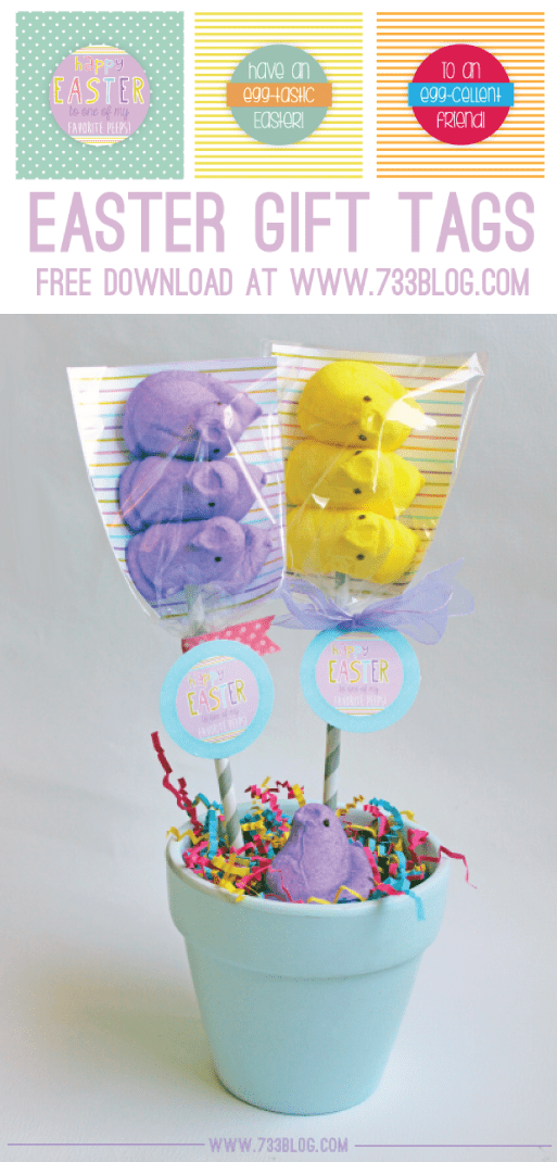 Peeps Pops Favor Tags and lots of great Easter party ideas for kids