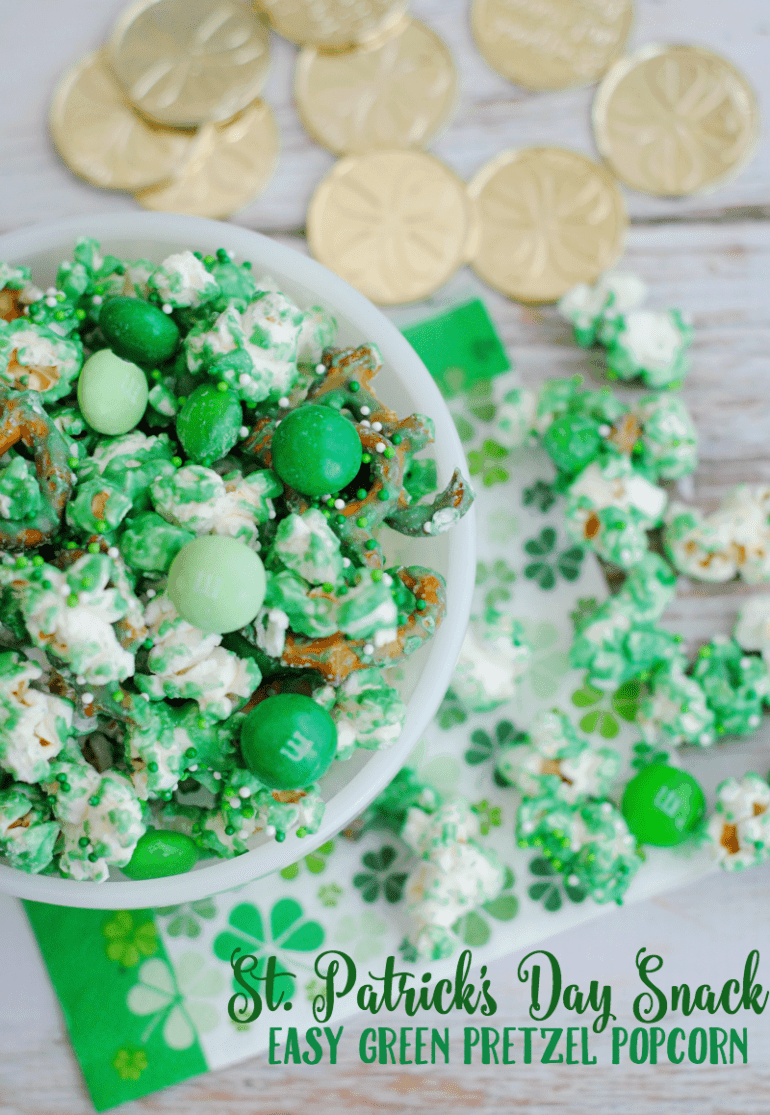 Pretzel Popcorn Snack Mix and more delicious St Patricks day desserts