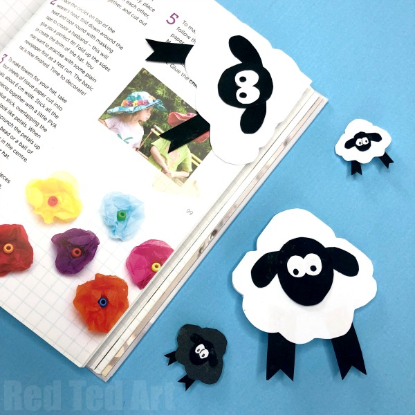 Sheep Bookmark and other fun and easy Easter crafts for kids