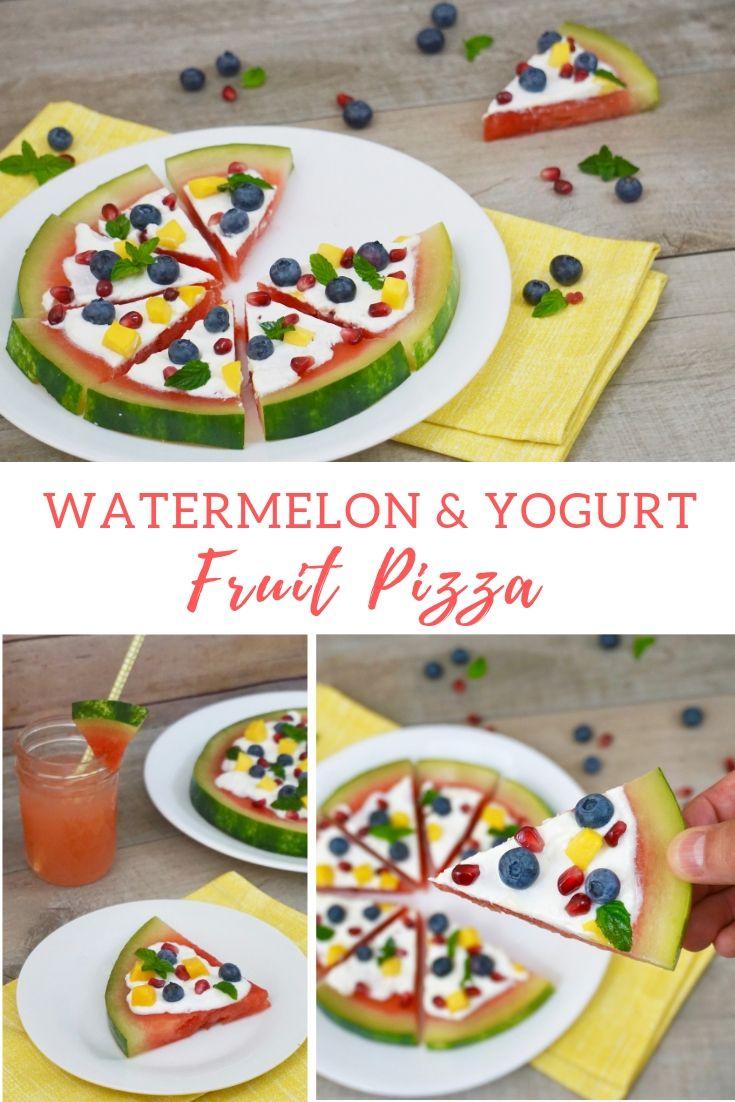 watermelon and yogurt fruit pizza