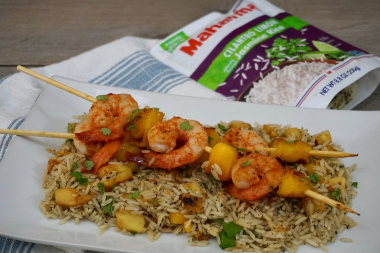 Shrimp and Mango Skewers Over Grilled Pineapple Cilantro Lime Rice