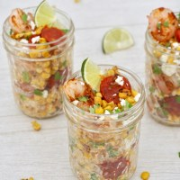 Charred Mexican Corn Salad with Shrimp and Chorizo
