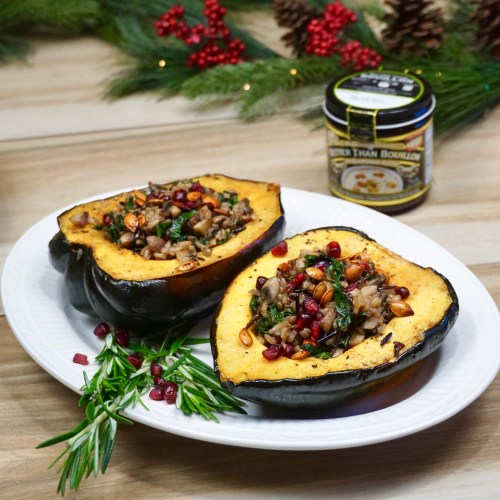 Stuffed Acorn Squash with Chipotle Mushroom Wild Rice