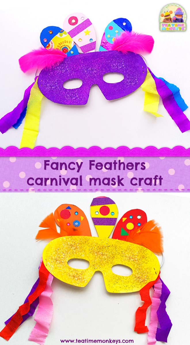 Fancy Feathers Carnaval Mask and other Carnaval crafts for kids