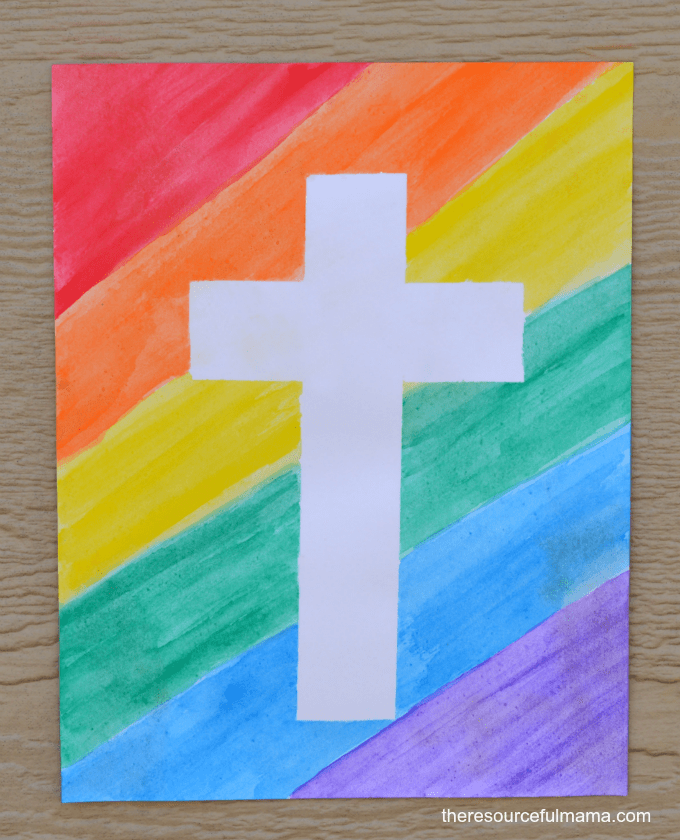 Rainbow Tape Resist Cross and other Carnaval crafts for kids