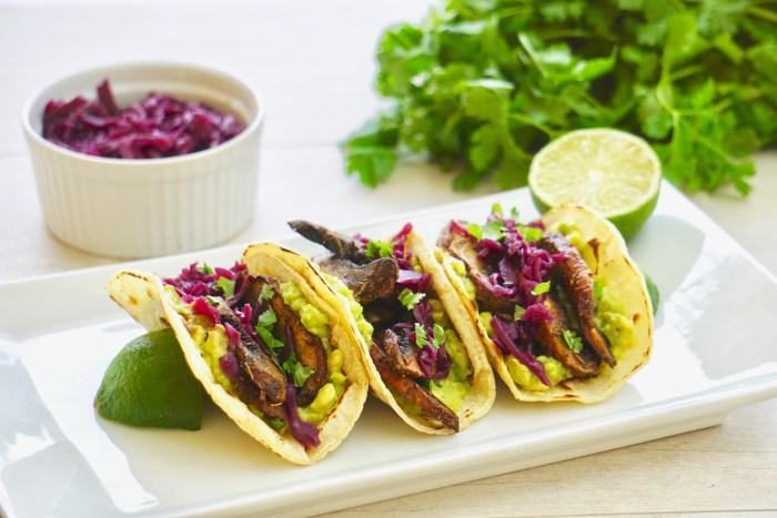 vegan roasted mushroom tacos