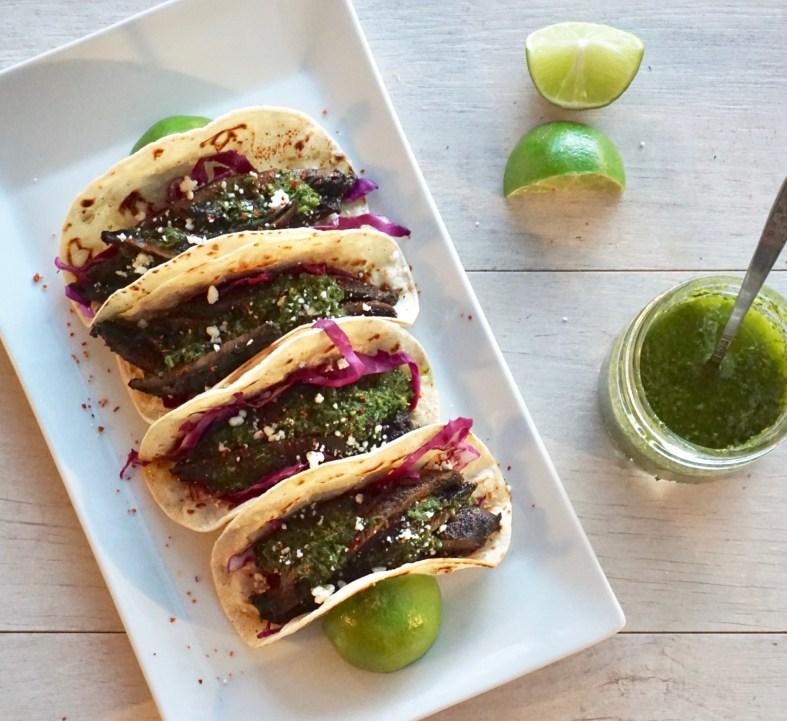 portobello mushroom tacos with chimichurri sauce