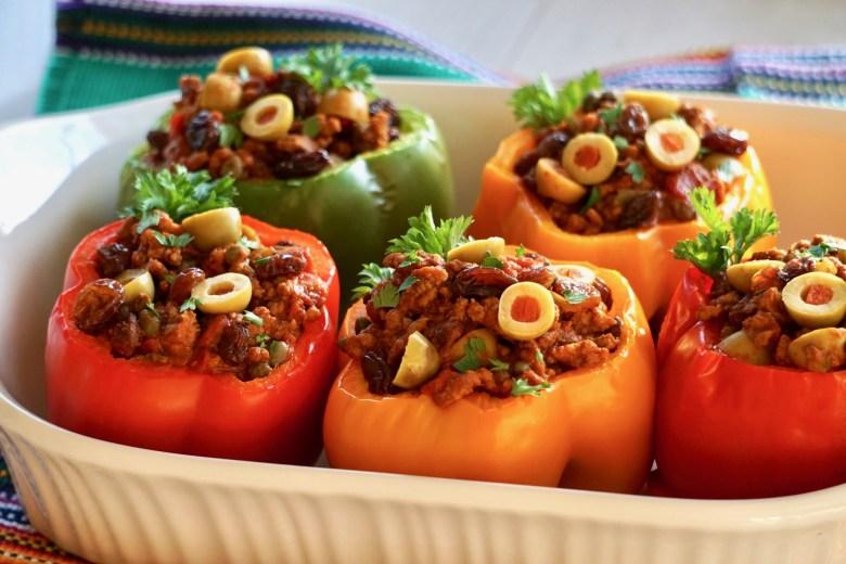 Cuban picadillo stuffed peppers