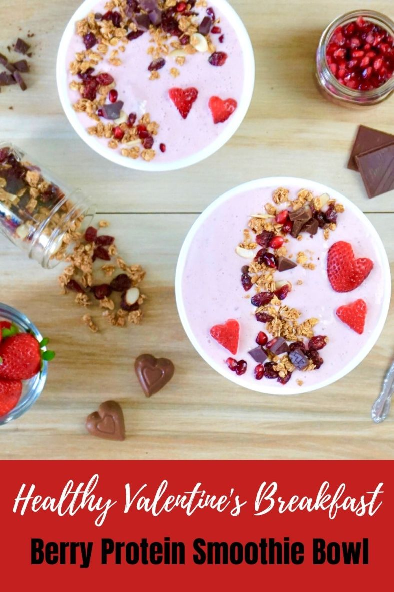 Healthy Valentines Breakfast Berry and Chocolate Protein Smoothie Bowl