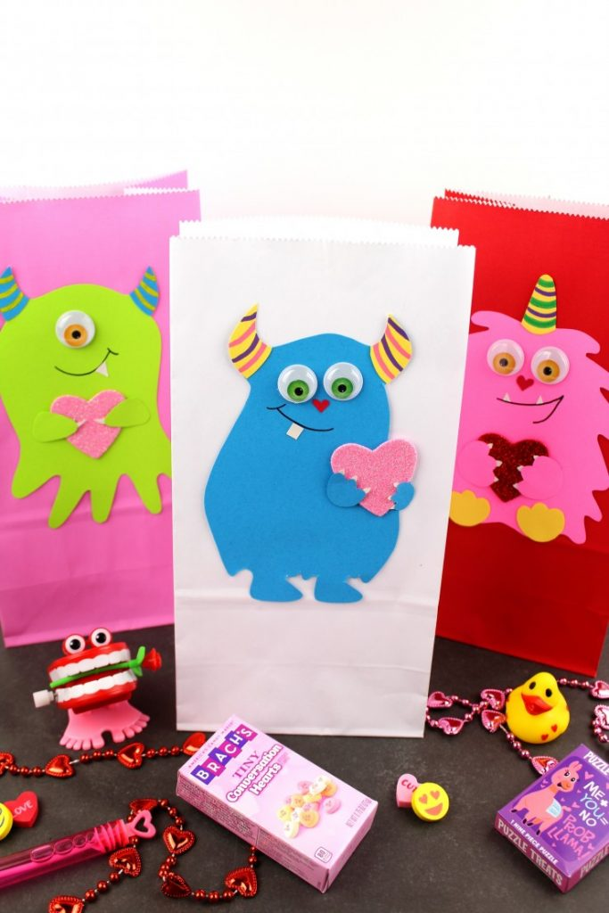 Cute Valentines Monster Treat Bags Craft for kids