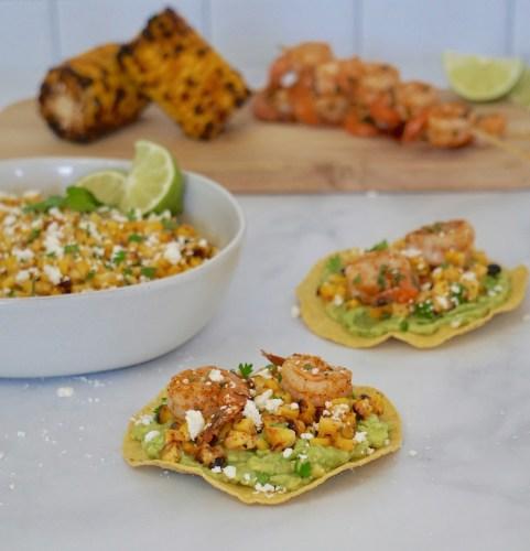 spicy shrimp and esquites tostadas