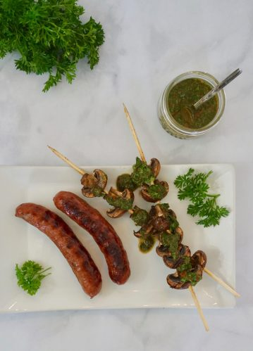 A Perfect Pairing for the Grill: BBQ Brats and Mushrooms with Chimichurri Sauce