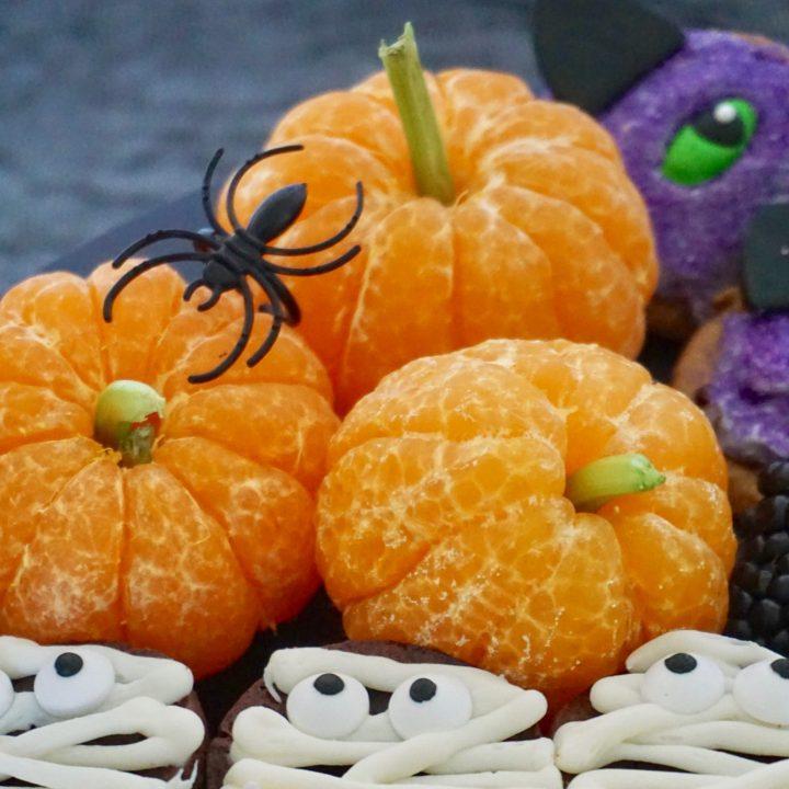 Tangerine pumpkins healthy Halloween snack
