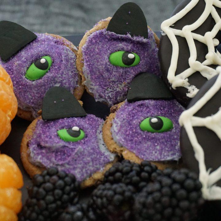 Halloween cookies, one-eyed one-horned purple people eater cookies