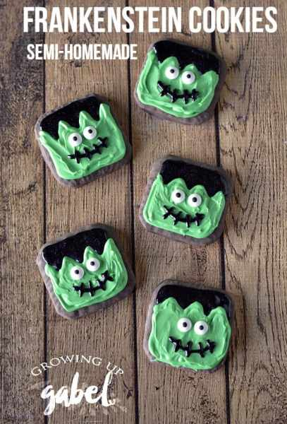Frankenstein decorated Halloween cookies are easy to make with packaged cookies and frosting. Cute semi-homemade cookies are perfect for kids to help make.