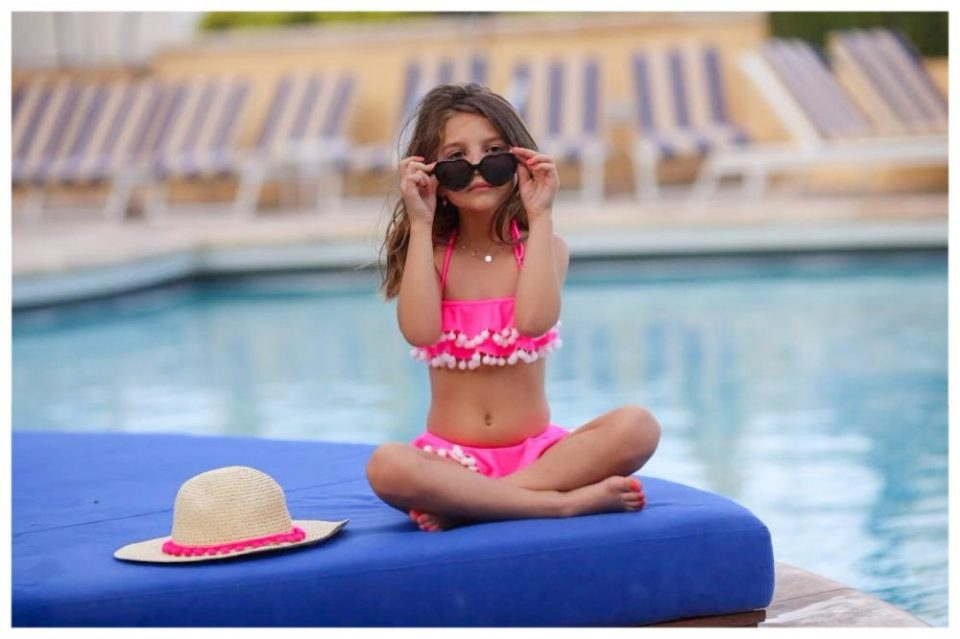 growing up glad, mom blog, mommy blog, fashion blog, parenting blog, girl power, inspiration, motivation, 2017, Stella Cove, swimwear, luxury swimwear, summer, summer fashion, wardrobe, bikini, swan, pom pom, ruffle, sun hat, swimsuits