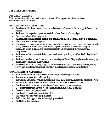 Free job descriptions samples for Example of a job description template
