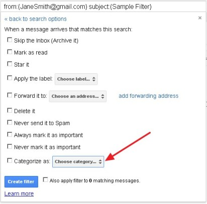How to send filtered emails to tabs in Gmail